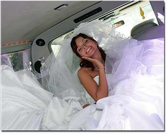 Bride inside a Limo